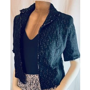 Elie Tahari Black Short Sleeve Silk CropJacket S/M